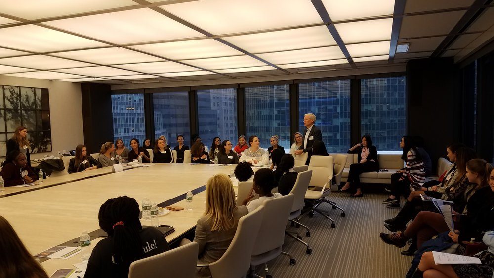 Invest In Girls participants from The Young Women's Leadership School of the Bronx & The Westover School of Connecticut take part in a Q&A with Centerbridge Partners founding partner Mark Gallogly.