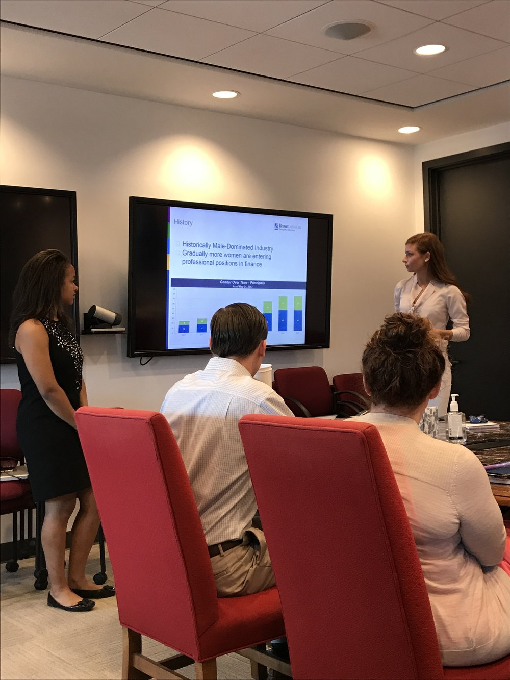 Baltimore fellows Solana Craig (l) of The Bryn Mawr School and Anastasia Swetz (r) of Saint Paul's School for Girls present their research findings on women in finance.