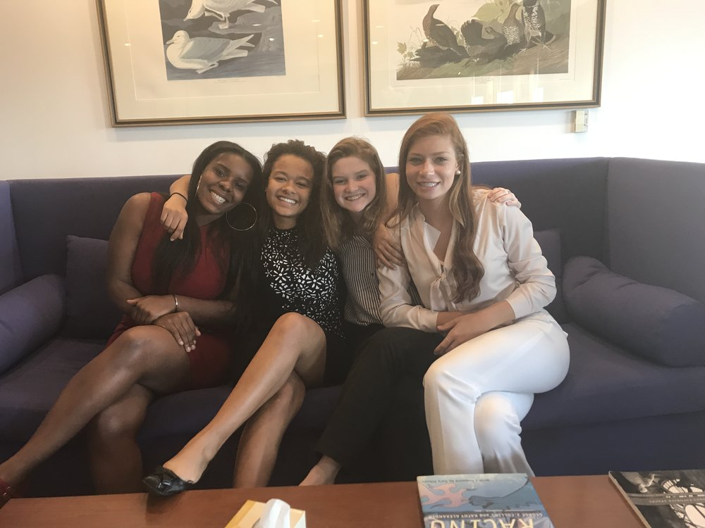 Baltimore Fellows from left to right: India Wilson, (ConneXions: A Community Based Arts School - Liberty Heights, West Baltimore, attending Bowie State University - Fall 2017), Solana Craig (The Bryn Mawr School, Roland Park, North Baltimore), Rory Johnson (The Bryn Mawr School, Roland Park, North Baltimore), & Anastasia Swetz (Saint Paul's School for Girls, Brooklandville, Baltimore County).