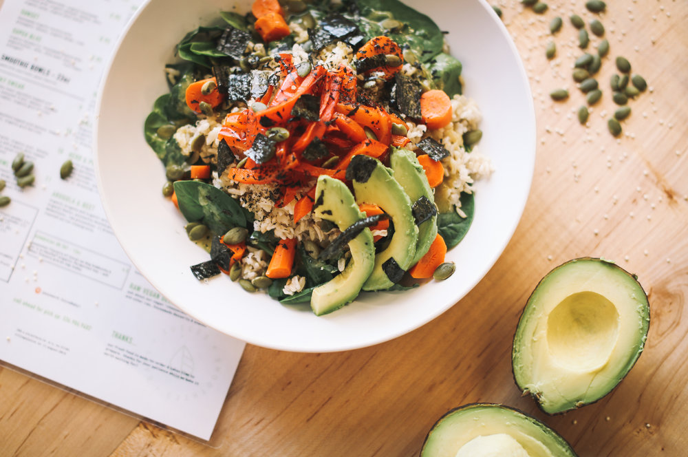 MISO BOWL: organic spinach or kale ~ brown rice ~ roasted organic carrots ~ roasted organic red peppers ~ pumpkin seeds ~ nori seaweed ~ avocado ~ dressing: miso || $8.95  * suggested add-on: chicken, fried egg, sriracha sauce, kimchi