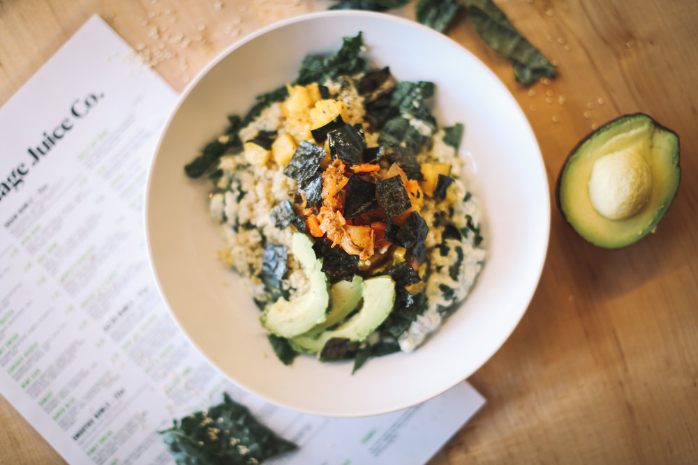 EDIE BOWL: organic Kale ~ warm quinoa ~ roasted organic butternut squash ~ nori seaweed ~ avocado ~ gnomestead hollow kimchi || dressing:  lemon garlic tahini || $9.95   * suggested add-on:  carrots, chicken, fried egg. pumpkin seeds