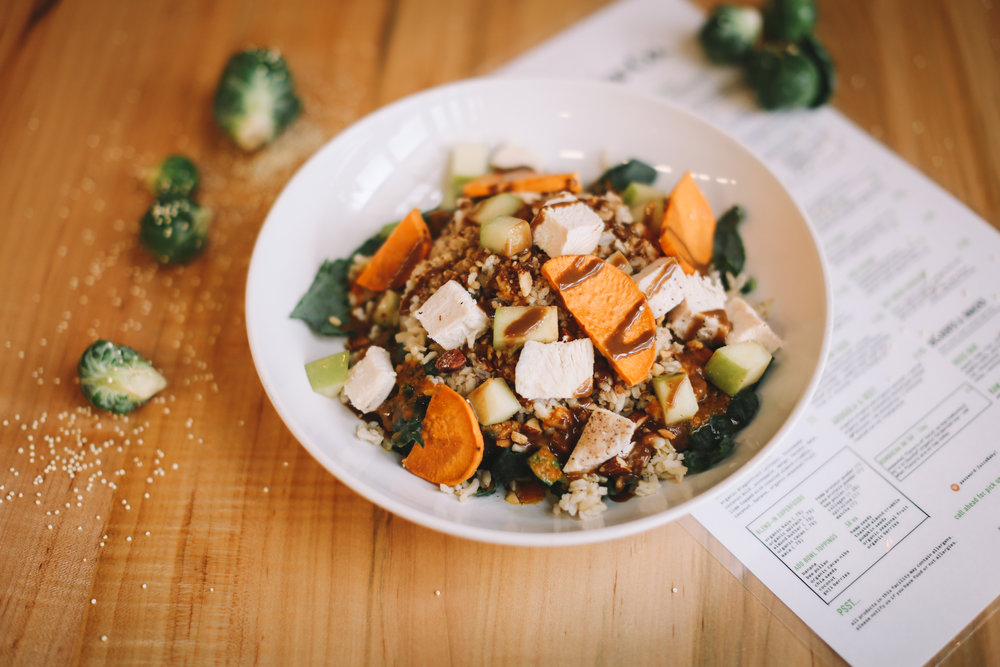 FARMERS DAUGHTER: organic spinach or kale ~ brown rice ~ organic roasted sweet potato ~ spiced almonds ~ organic green apples ~ Joyce Farms chicken breast || dressings: balsamic dijon & roasted carrot || $9.95  * suggested add-ons: avocado, fried egg, white cheddar