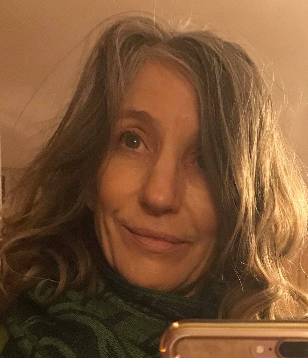 Author selfie, December 27, 2018; natural hair, little make-up and a bit disheveled. On the cusp of 60 years, author goal = mature gracefully.