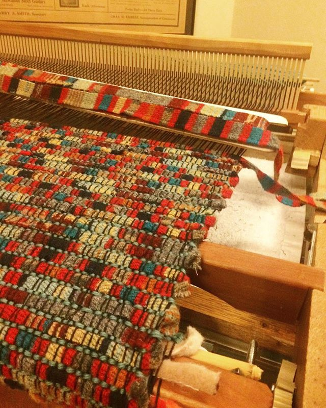 When at Grammas, do as Gramma do! Learn to weave! May this be the first of many rugs. 😍