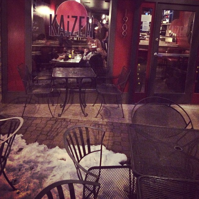 It's warm inside at KAiZEN! #eatlocal #delrayva #theavenue #snowverit #sushi #saki #tacos