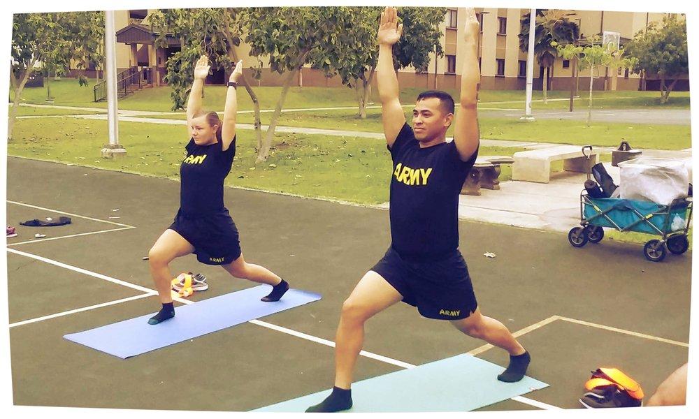 Yoga class on base on Oahu led by J. Benitez-Martinez a Yoga Hawaii teacher training graduate!
