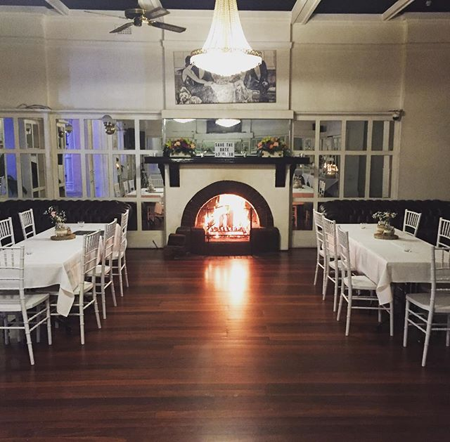 Balcony Ballroom all warm & cosy for tonight's engagement party of Ryan & Georgia. Congratulations & enjoy the evening. @ambassadorshotel #openfireplace #balcony #functions #events #adelaide #cosy #warm