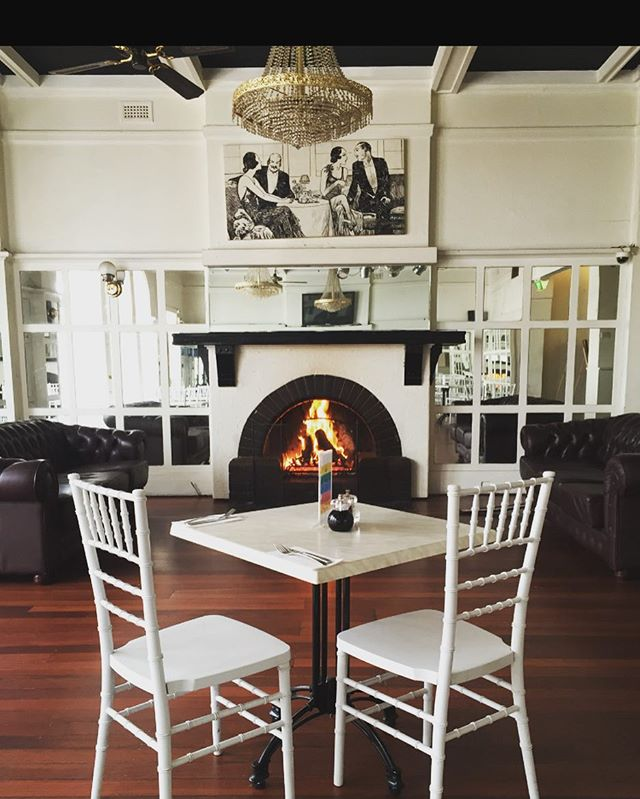 Lunch for two... Dining by the open fire on a cold winters day! Some would say perfection  Book your table in the balcony for lunch-call 82314331  @ambassadorshotel #lunch #openfire #winterdelights #adelaiderestaurants experience