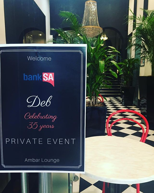 Special celebration for one of our dear neighbours at BankSA. 35 years of service to BankSA-massive congratulations to Deb. @ambassadorshotel #celebrations #privateevent #ambarlounge #happyhour #banksa @mybanksa