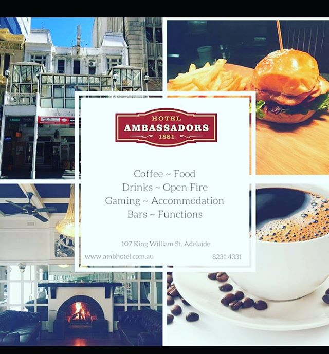 Ambassadors Hotel has so much to offer... Come in to the old and experience the new. @ambassadorshotel #dining #coffee #accommodation #adelaide #old&new #adelaidehistory
