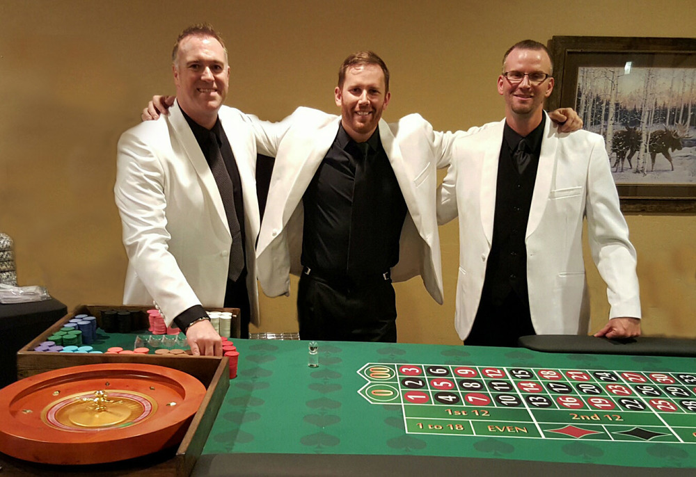 Steve, Mike and Travis warming up the roulette table before guests arrive