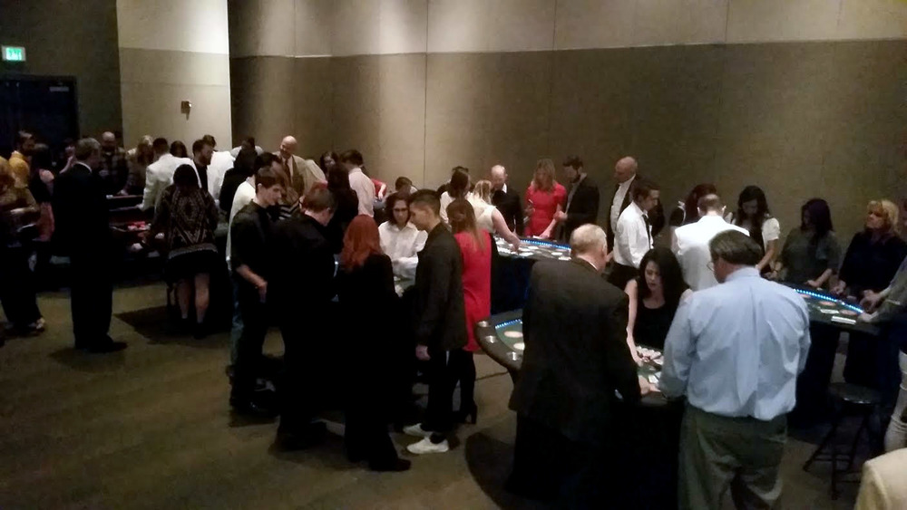 Full tables at a Corporate christmas party at the south town expo center