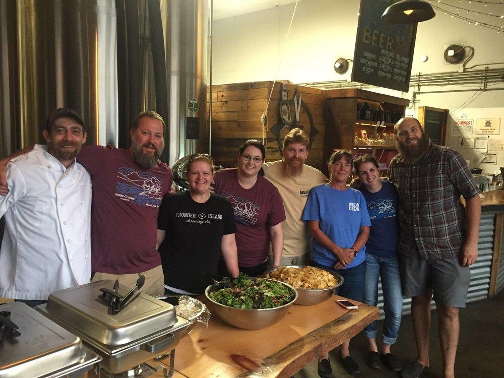 Thunder Island Brewing Staff Serving Fire Crews Sept 3.jpg
