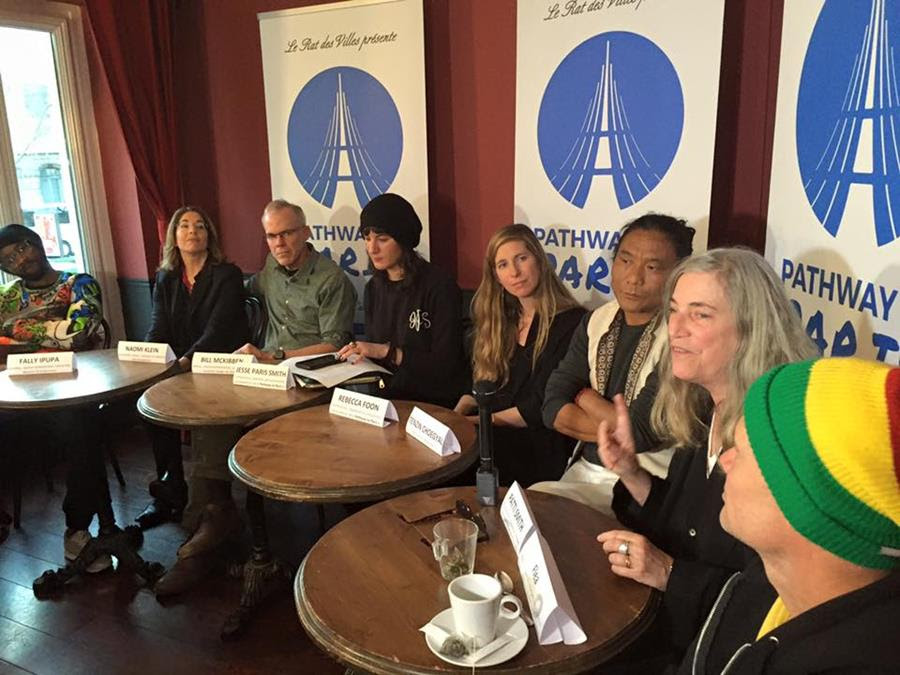 Pathway to Paris speakers and performers at our official press conference on December 4th at Le Petit Trianon. From Left: Fally Ipupa, Naomi Klein, Bill Mckibben, Jesse Paris Smith, Rebecca Foon, Tenzin Choegyal, Patti Smith, Flea