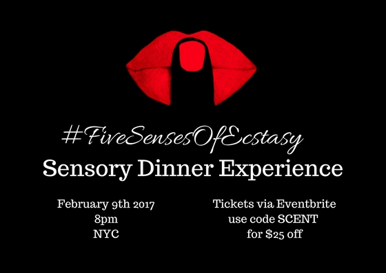 Multi-Sensory Food, Fragrance and Art Experience in a secret location in Harlem, New York presented by MUSE Experiences, Scent Menu and Methods & Madness Link for tickets HERE