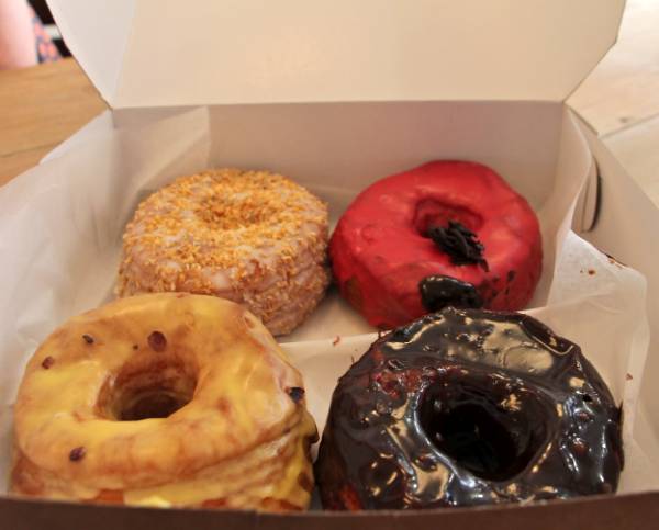 From top right: Toasted Coconut, Hibiscus, Passion Fruit, Chocolate Salted Caramel.