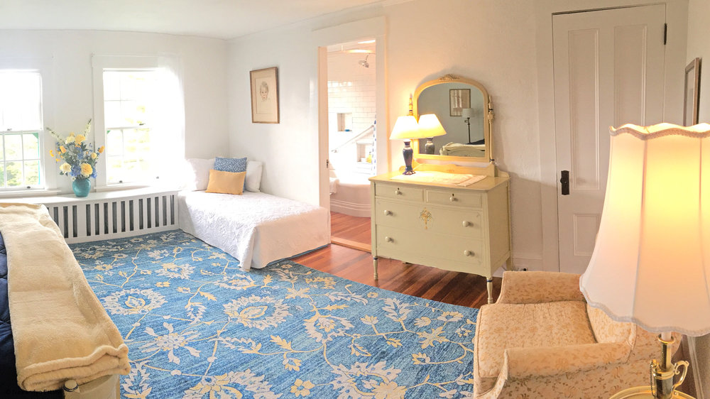 Blue Suite sleeps 3; choose 3 twins or a king and 1 twin.  Bathroom adjoins.