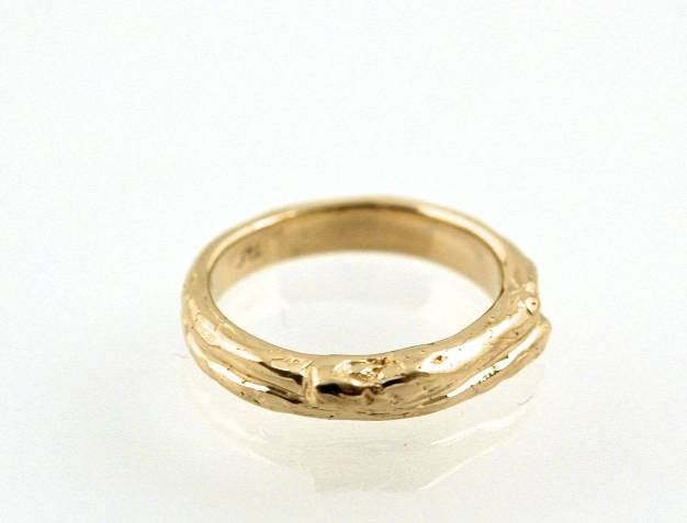 14K Yellow Gold Man's Twig Wedding Ring.