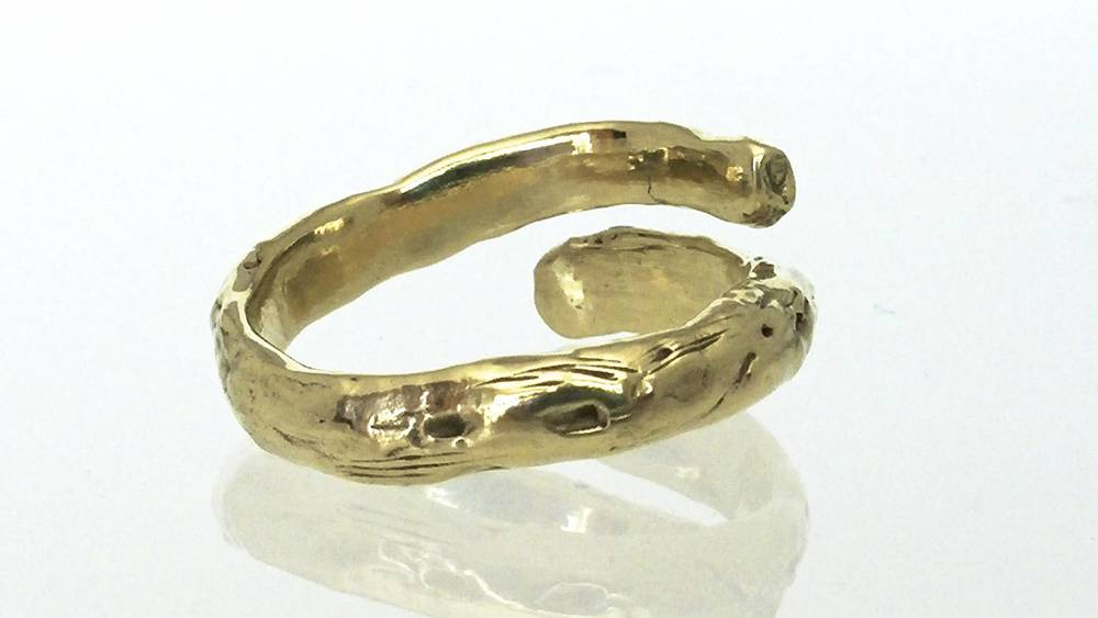 Custom 14K Yellow Gold, Twig Thumb Ring
