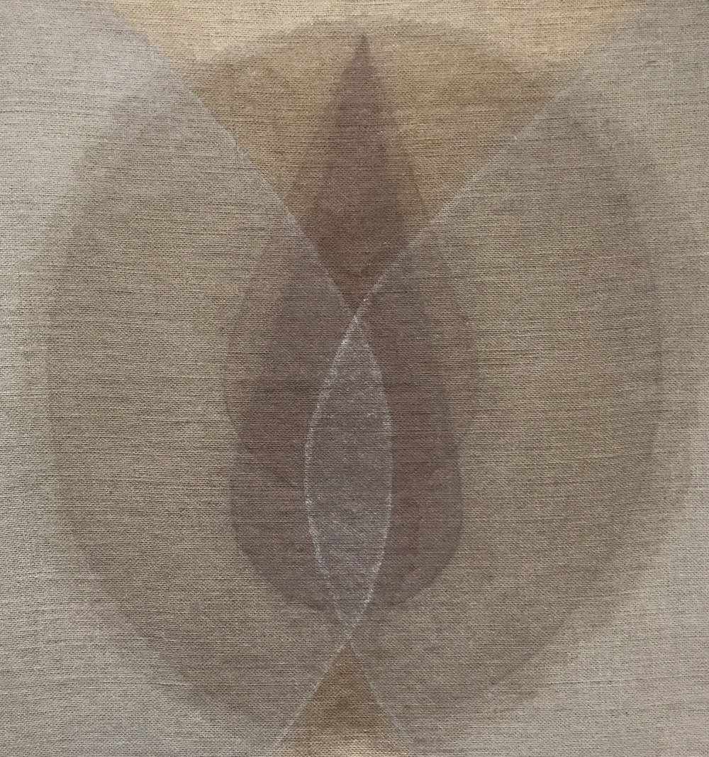 Seed grey-brown . 2018. ash, powdered quartz, devon mud and walnut hull on burlap. 29x31 inches.
