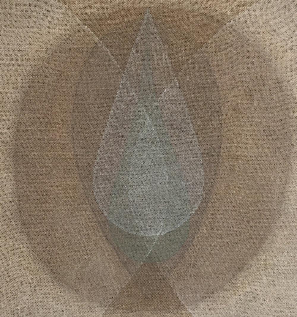 Seed white-green , 2018, ash, green earth, powdered quartz and walnut hull on burlap, 31 x 29 in (79 x 74 cm)