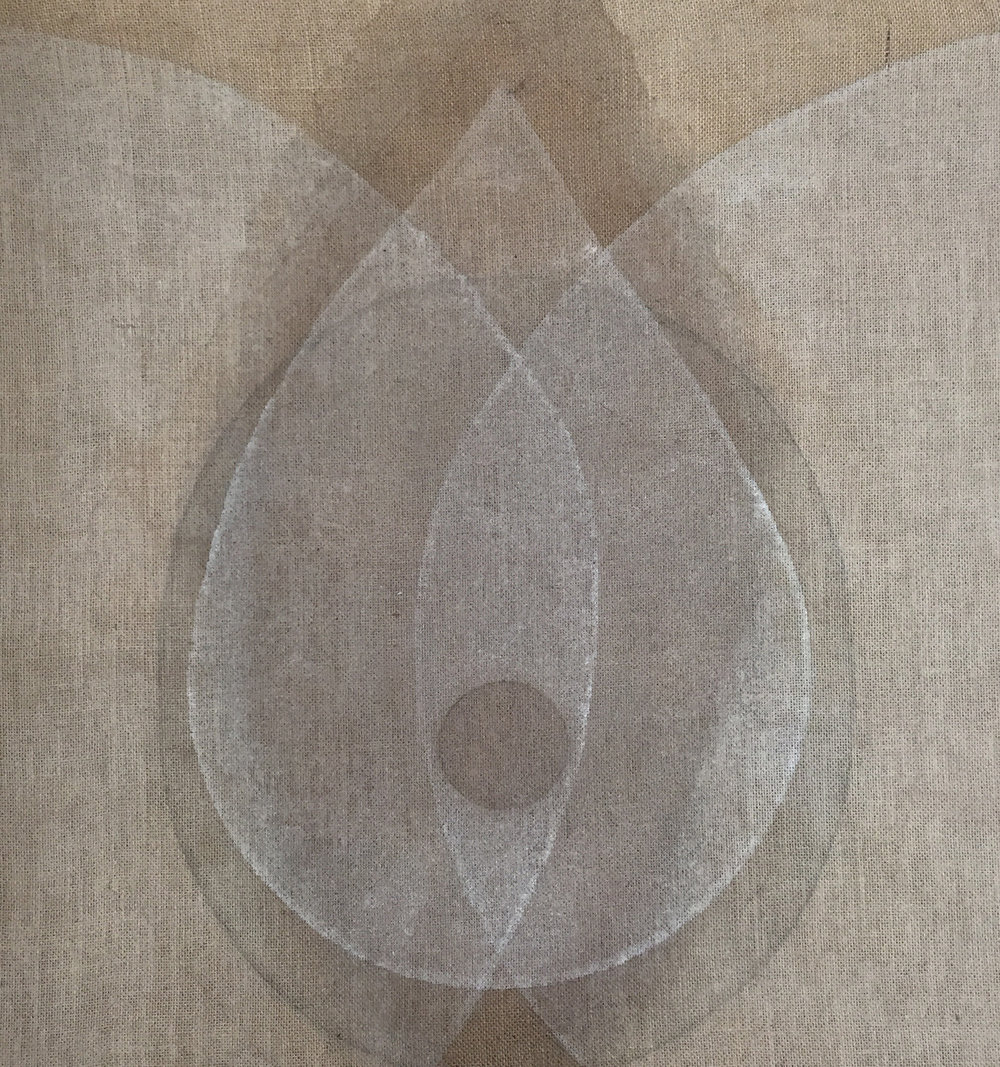 Seed white-brown , 2018, Ash, powdered quartz and walnut hull on burlap, 31 x 29 in (79 x 74 cm)