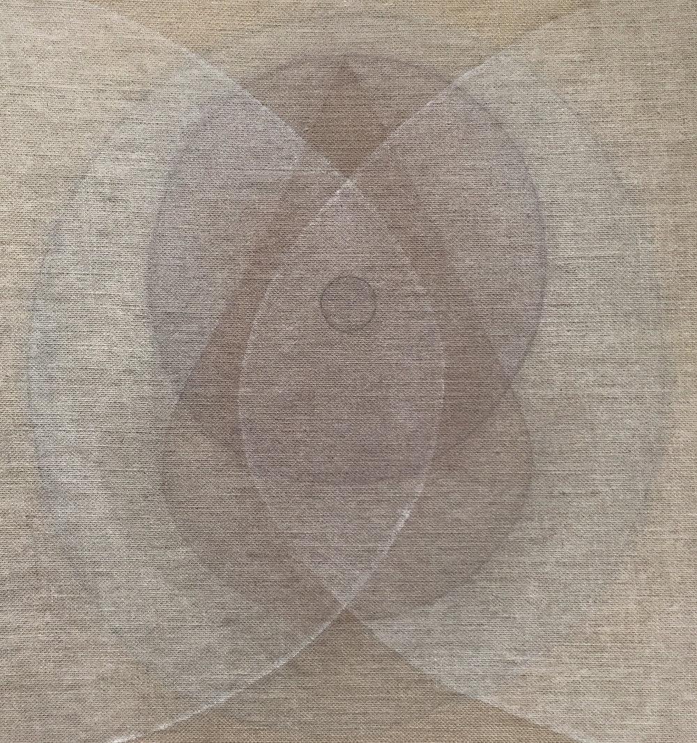 Seed white-grey , 2018, Ash, powdered quartz, devon mud and walnut hull on burlap, 31 x 29 in (79 x 74 cm)