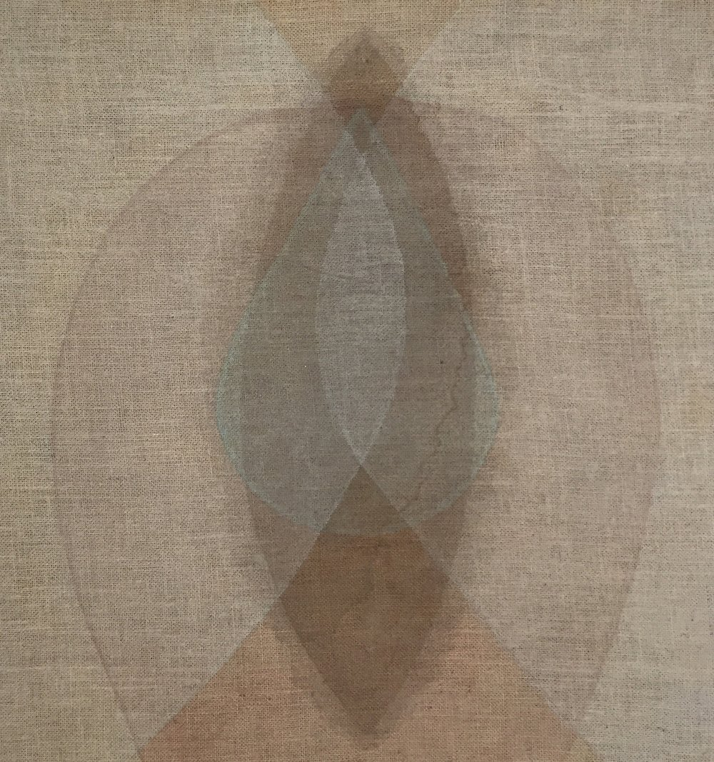 "Rachel Garrard, Seed Red-Brown, 2018, 31"" x 29"", Organic Pigment on Burlap"