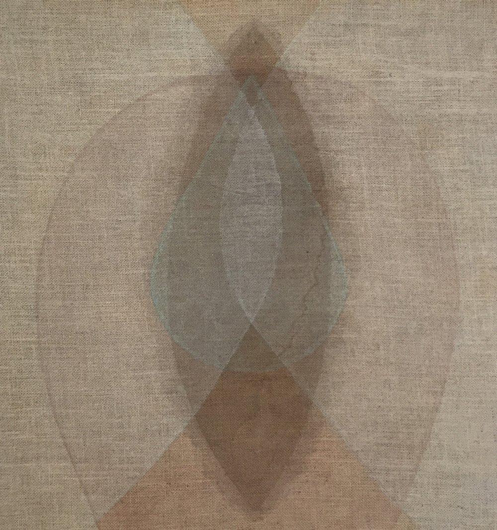 "Rachel Garrard, Seed Red-Brown, 2018, 31"" x 29"", Organic Pigment on Burlap"