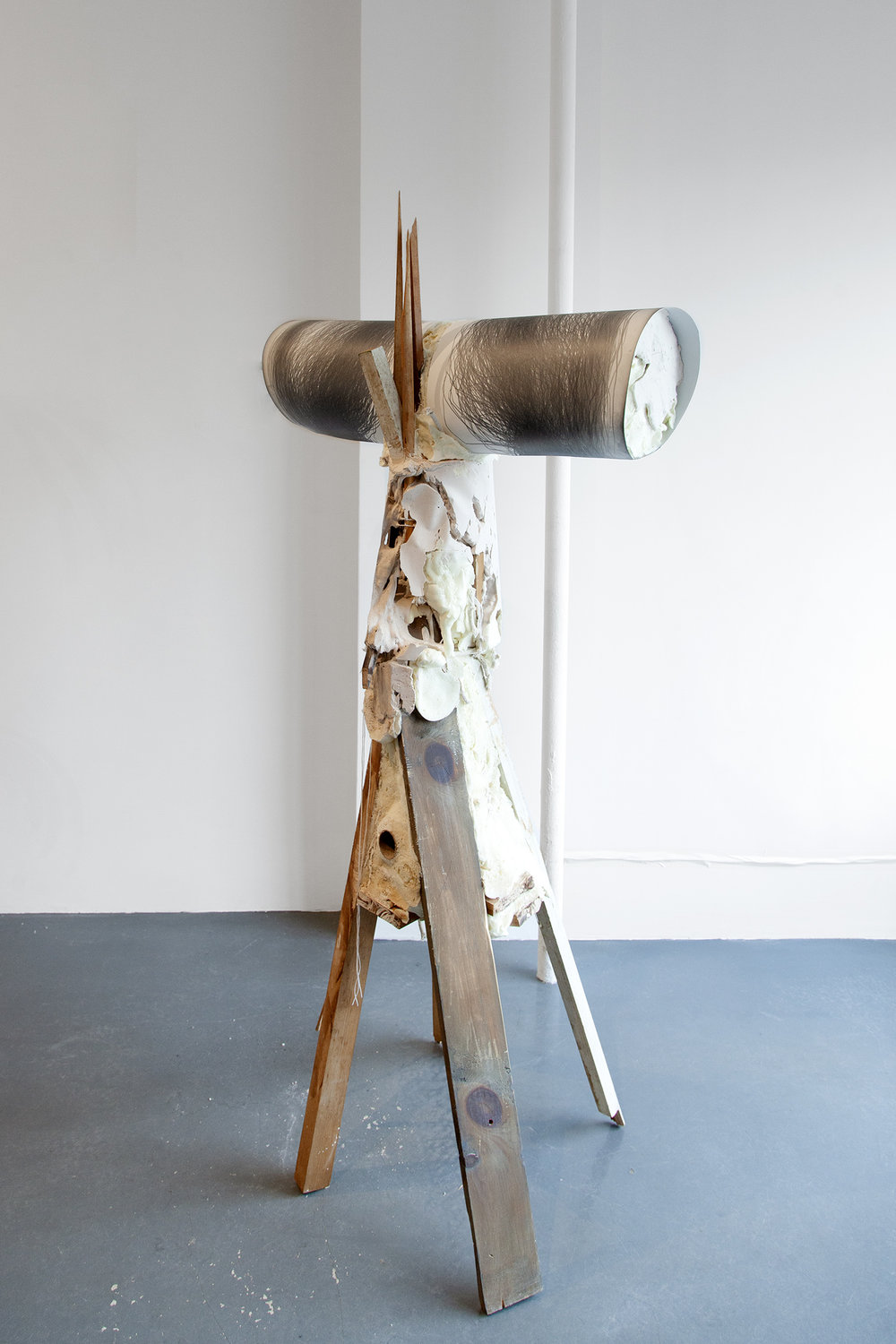 Supporting a continued gesture towards aligning our coexistence , 2019, Performance with graphite on paper and mixed media (reclaimed wood, rope, plaster, foam and aluminum), 59.5 x 28 x 18.5 in (150 x 71 x 46 cm)