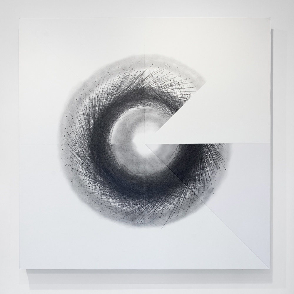 Circle on knees reimagined,  2018, Performance with graphite on paper mounted on aluminum and reclaimed staging, 47.09 x 47.09 in (119.6 x 119.6 cm)