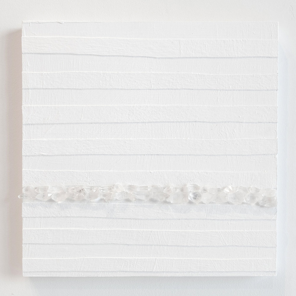 Crystal Cut Levitation #2 , 2019, Quartz crystal, acrylic and linen on wood panel 12 x 12 in (30.48 x 30.48 cm)