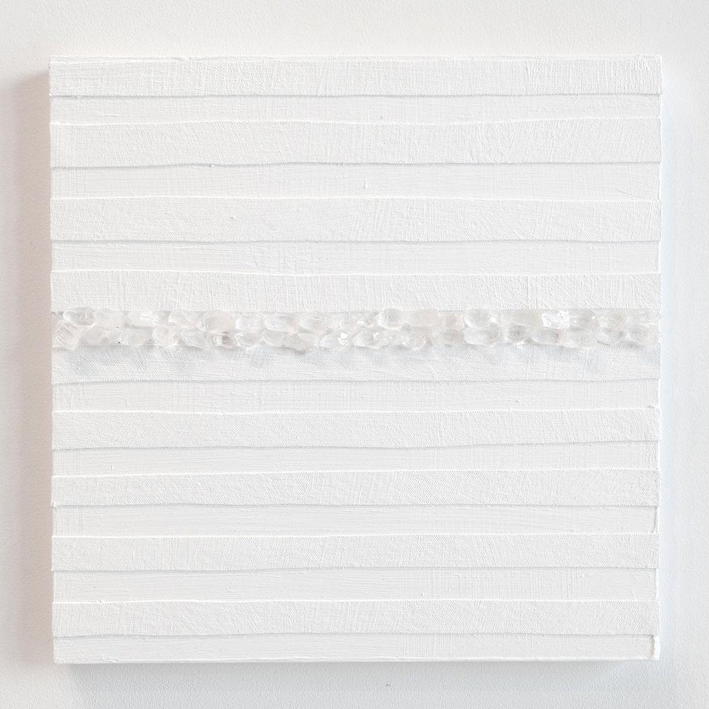 Crystal Cut Levitation #3 , 2019, Quartz crystal, acrylic and linen on wood panel 12 x 12 in (30.48 x 30.48 cm)