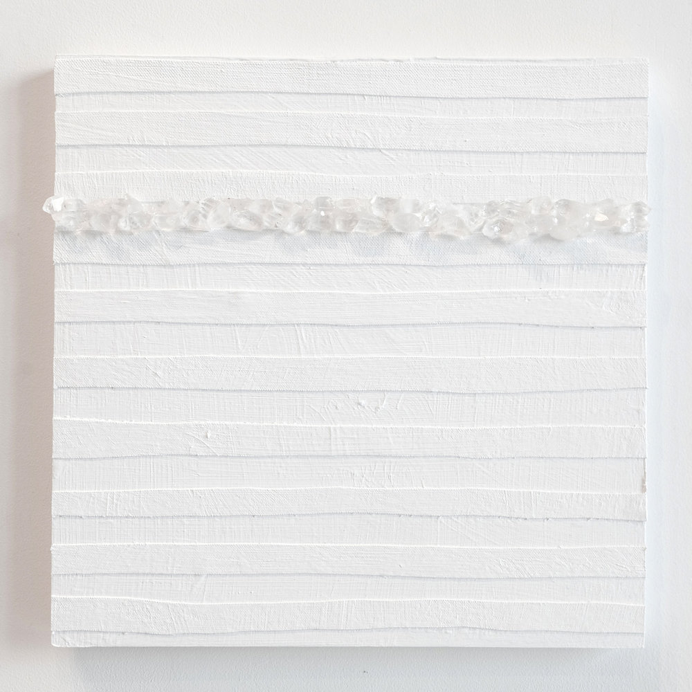 Crystal Cut Levitation #4 , 2019, Quartz crystal, acrylic and linen on wood panel 12 x 12 in (30.48 x 30.48 cm)