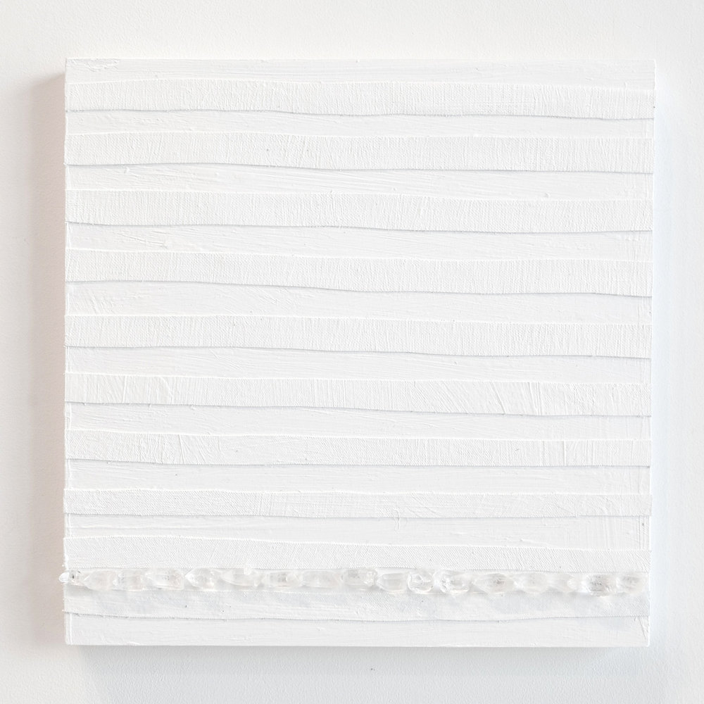 Crystal Cut Levitation #6 , 2019, Quartz crystal, acrylic and linen on wood panel 12 x 12 in (30.48 x 30.48 cm)