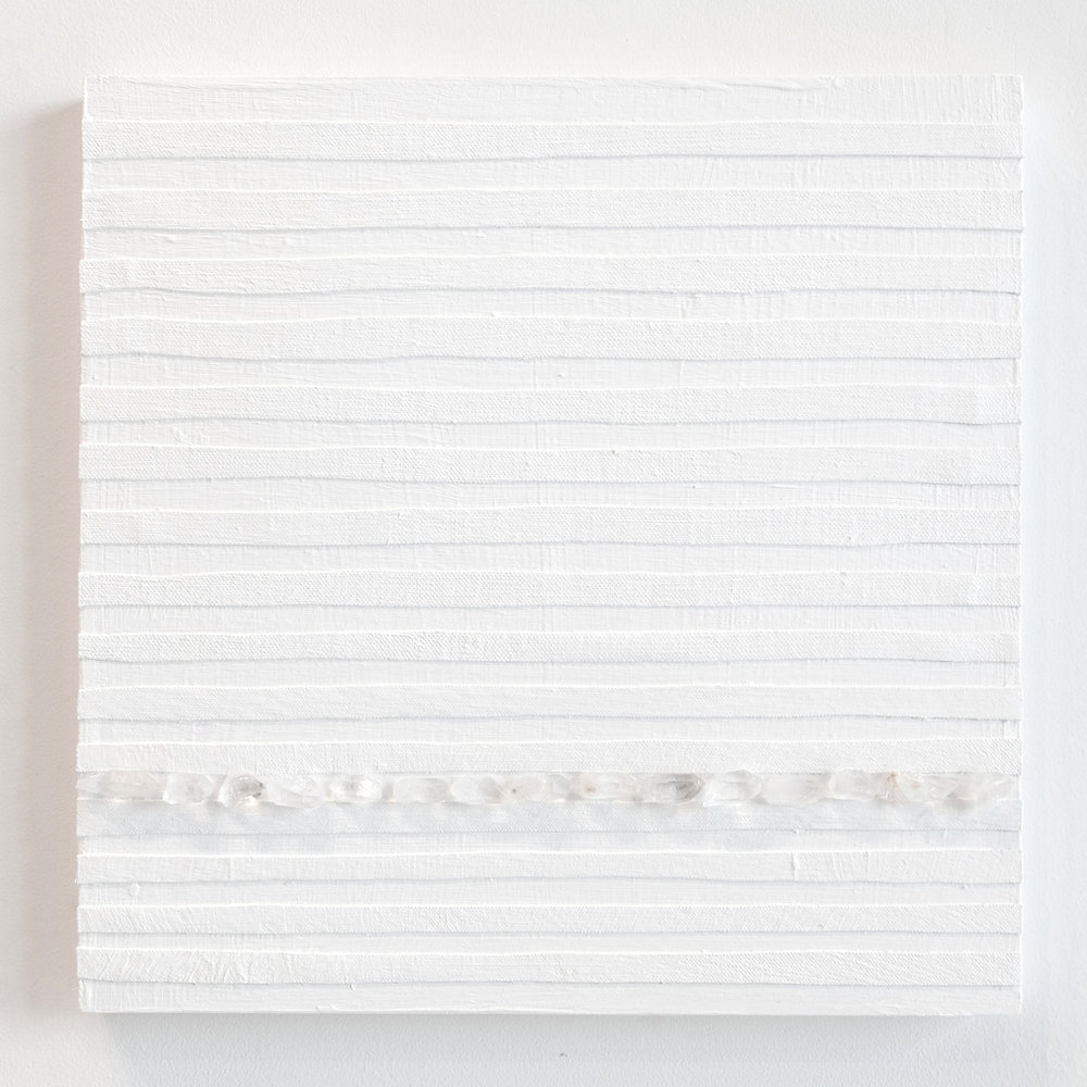 Crystal Cut Levitation #7 , 2019, Quartz crystal, acrylic and linen on wood panel 12 x 12 in (30.48 x 30.48 cm)