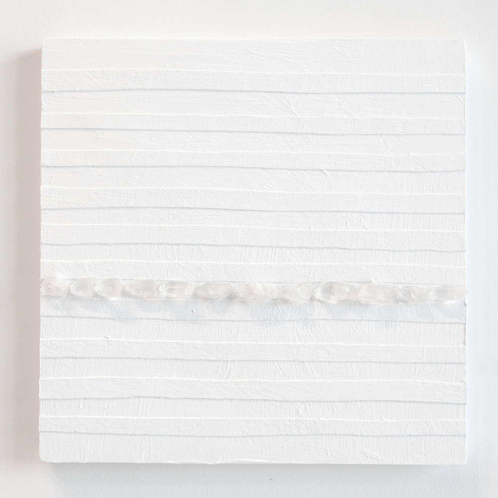 Crystal Cut Levitation #8 , 2019, Quartz crystal, acrylic and linen on wood panel 12 x 12 in (30.48 x 30.48 cm)