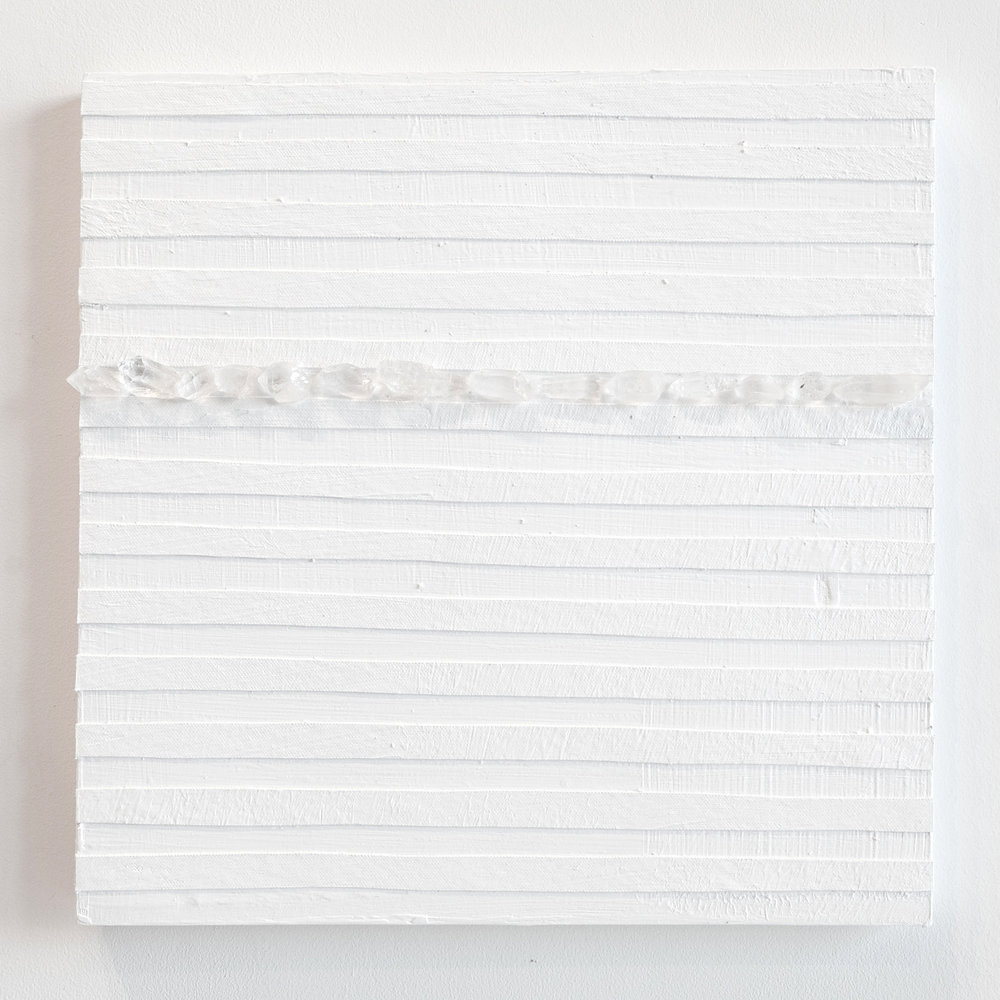 Crystal Cut Levitation #9, 2019, Quartz crystal, acrylic and linen on wood panel 12 x 12 in (30.48 x 30.48 cm)