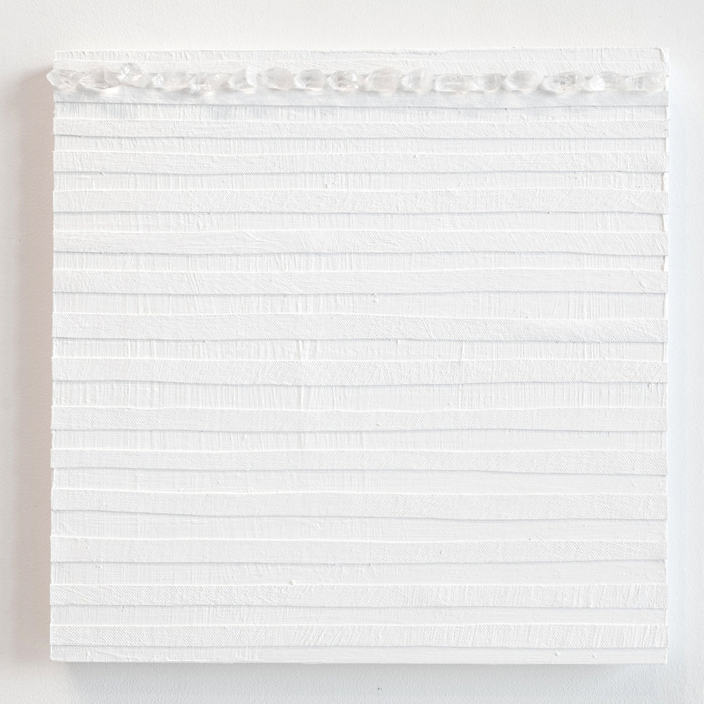 Crystal Cut Levitation #10 , 2019, Quartz crystal, acrylic and linen on wood panel 12 x 12 in (30.48 x 30.48 cm)