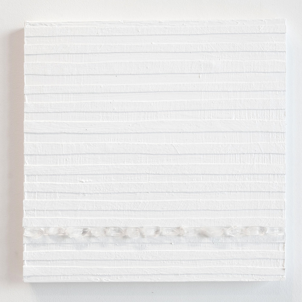 Crystal Cut Levitation #12 , 2019, Quartz crystal, acrylic and linen on wood panel 12 x 12 in (30.48 x 30.48 cm)