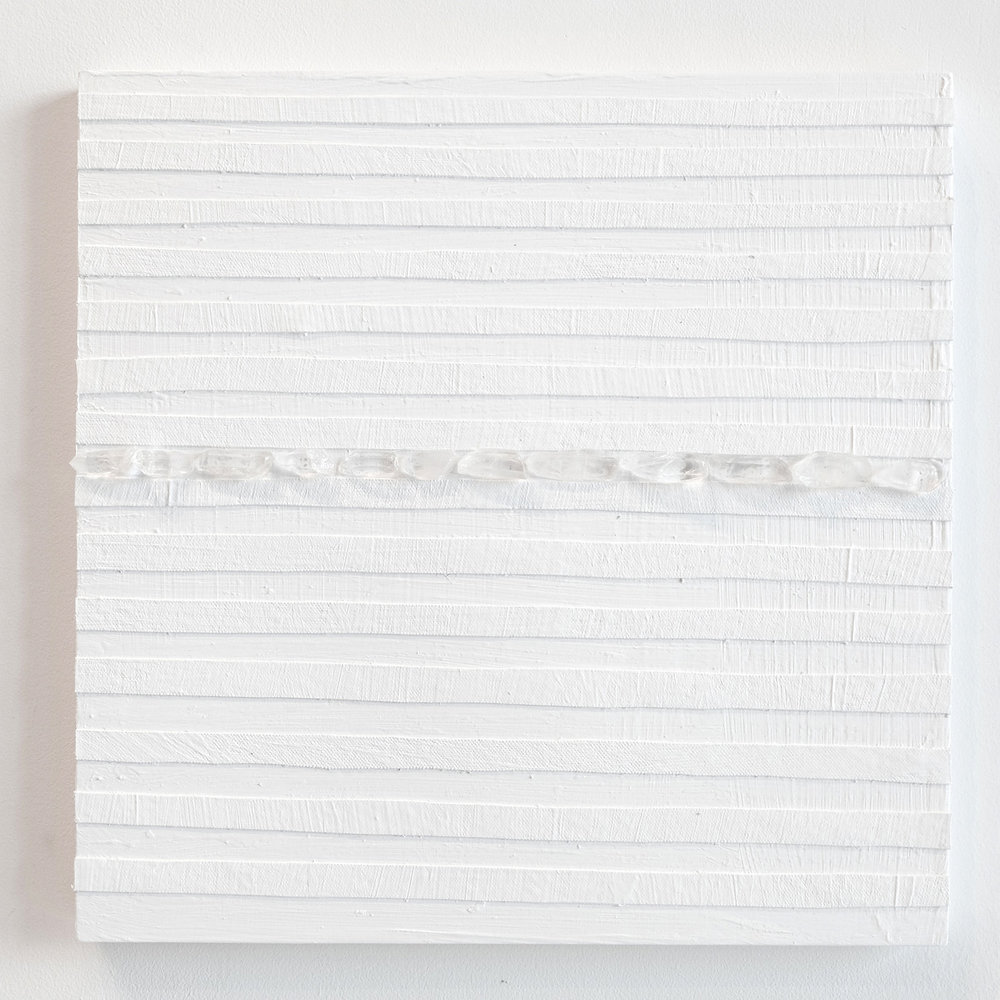 Crystal Cut Levitation #13 , 2019, Quartz crystal, acrylic and linen on wood panel 12 x 12 in (30.48 x 30.48 cm)
