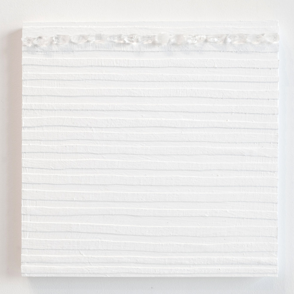 Crystal Cut Levitation #15 , 2019, Quartz crystal, acrylic and linen on wood panel 12 x 12 in (30.48 x 30.48 cm)