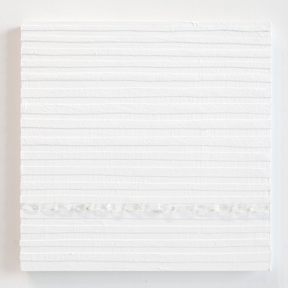 Crystal Cut Levitation #17 , 2019, Quartz crystal, acrylic and linen on wood panel 12 x 12 in (30.48 x 30.48 cm)