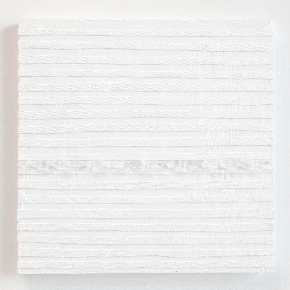 Crystal Cut Levitation #18 , 2019, Quartz crystal, acrylic and linen on wood panel 12 x 12 in (30.48 x 30.48 cm)
