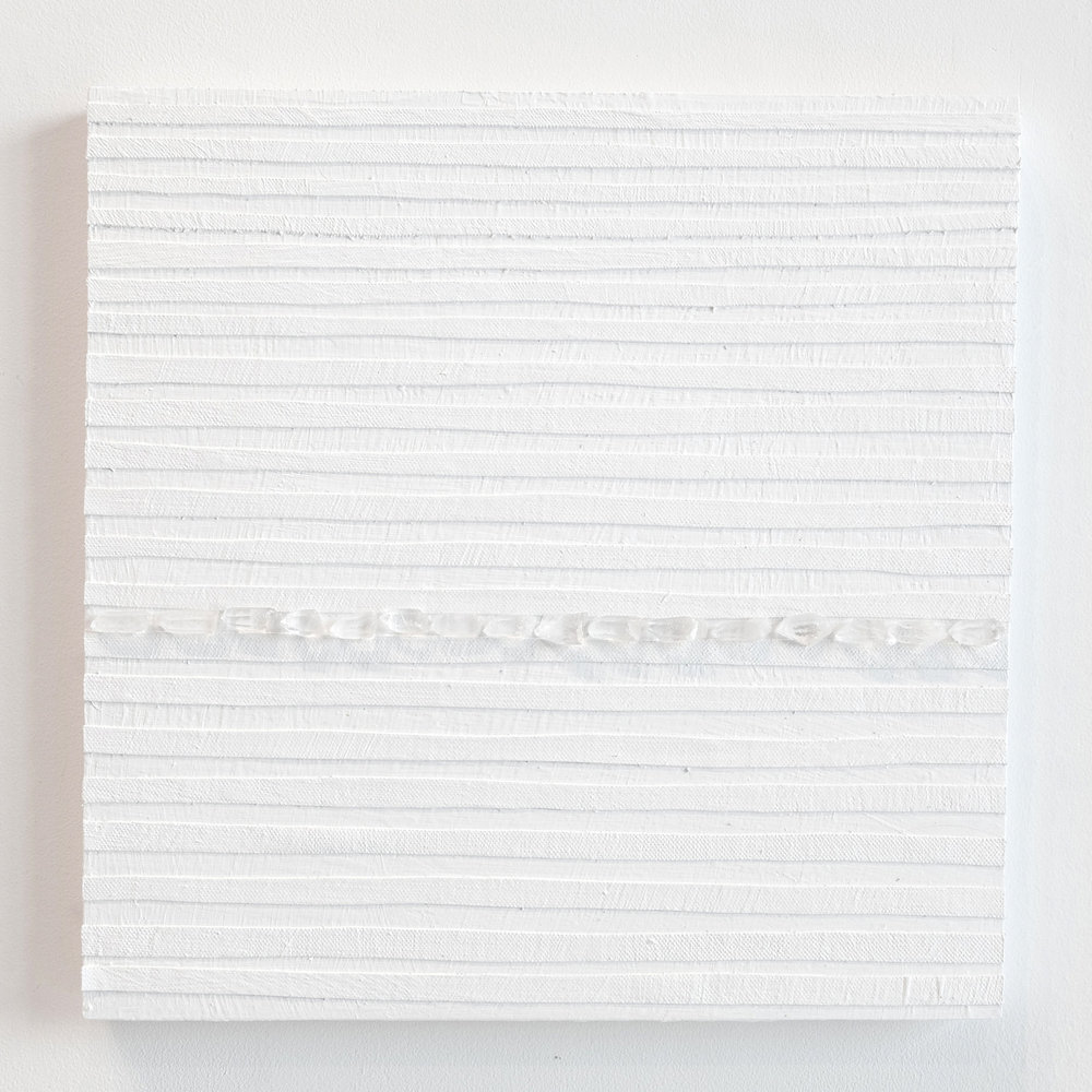 Crystal Cut Levitation #23 , 2019, Quartz crystal, acrylic and linen on wood panel 12 x 12 in (30.48 x 30.48 cm)