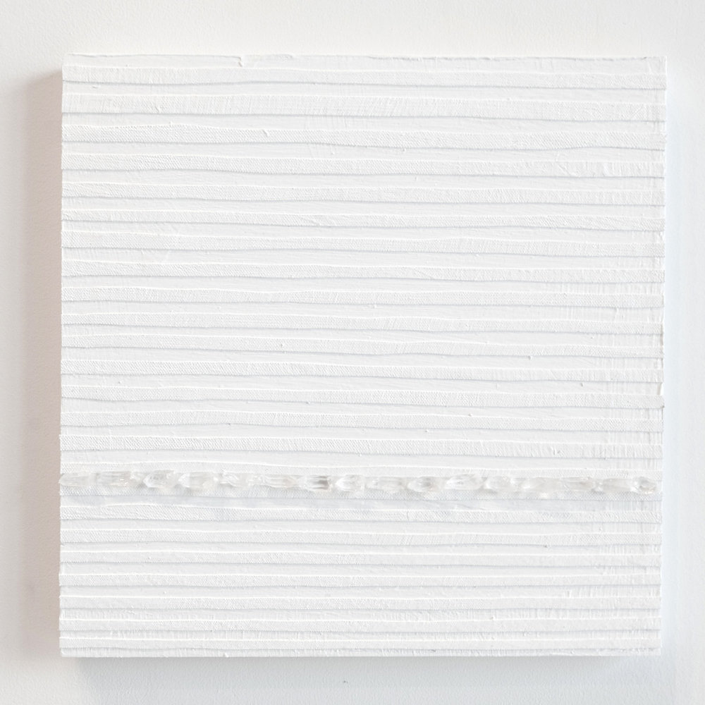 Crystal Cut Levitation #27 , 2019, Quartz crystal, acrylic and linen on wood panel 12 x 12 in (30.48 x 30.48 cm)