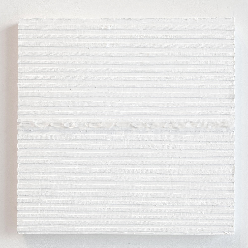 Crystal Cut Levitation #28 , 2019, Quartz crystal, acrylic and linen on wood panel 12 x 12 in (30.48 x 30.48 cm)