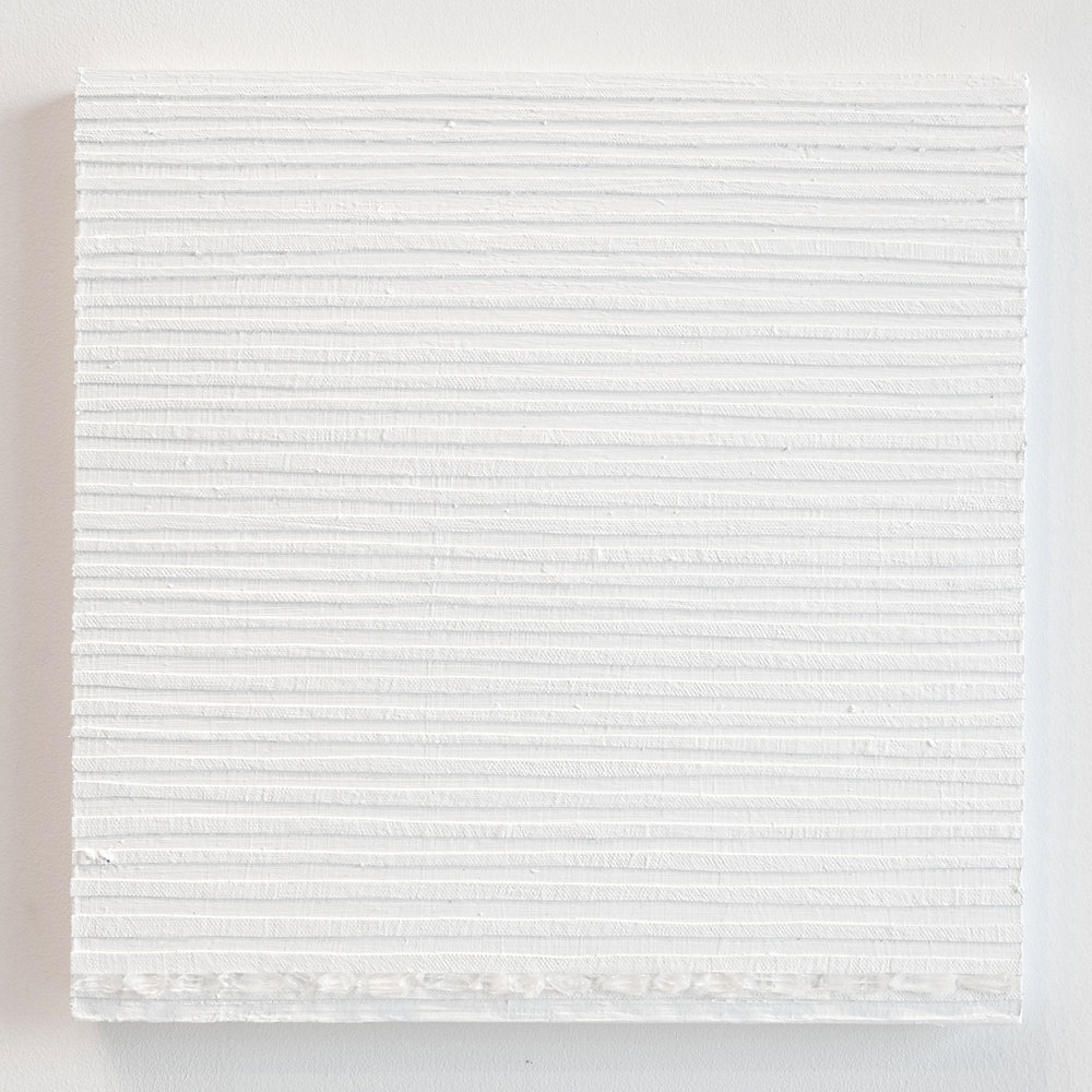 Crystal Cut Levitation #31 , 2019, Quartz crystal, acrylic and linen on wood panel 12 x 12 in (30.48 x 30.48 cm)