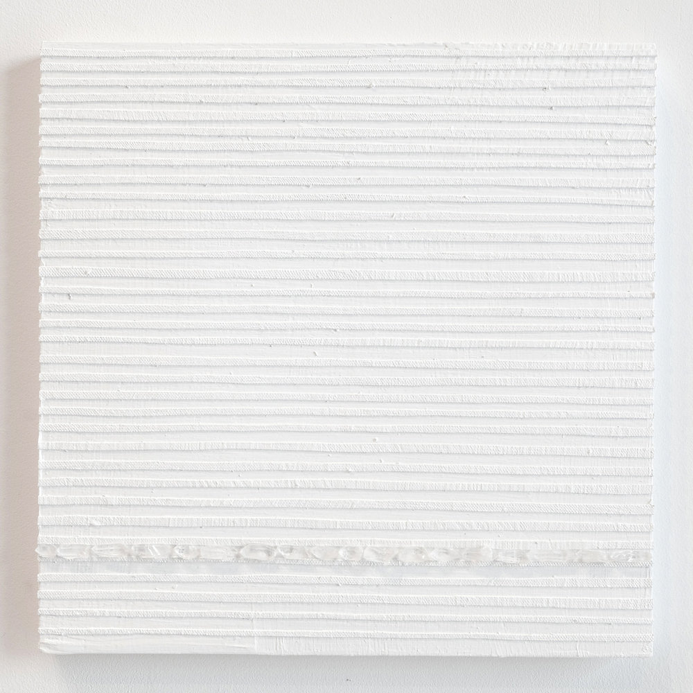 Crystal Cut Levitation #32 , 2019, Quartz crystal, acrylic and linen on wood panel 12 x 12 in (30.48 x 30.48 cm)