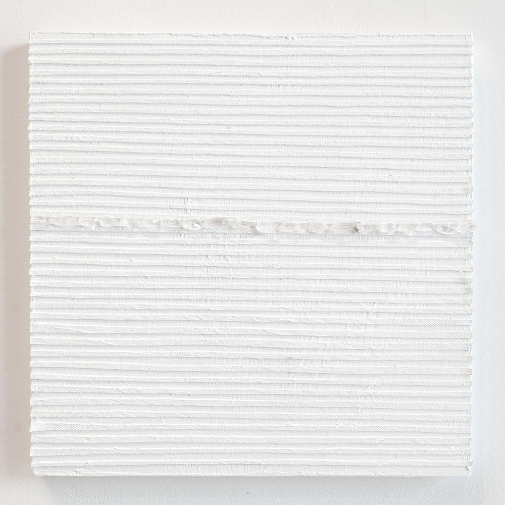 Crystal Cut Levitation #33 , 2019, Quartz crystal, acrylic and linen on wood panel 12 x 12 in (30.48 x 30.48 cm)
